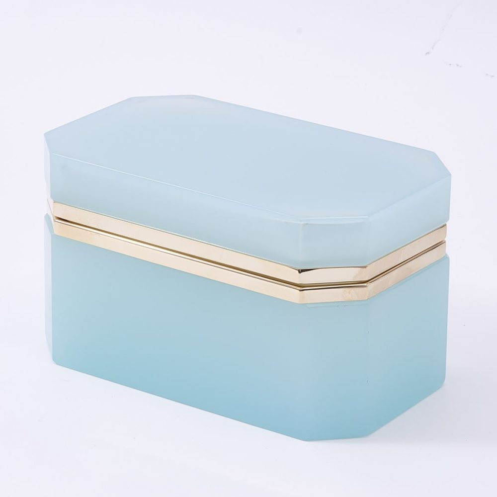 Large Murano Aqua Glass Box With Gilt Mounts