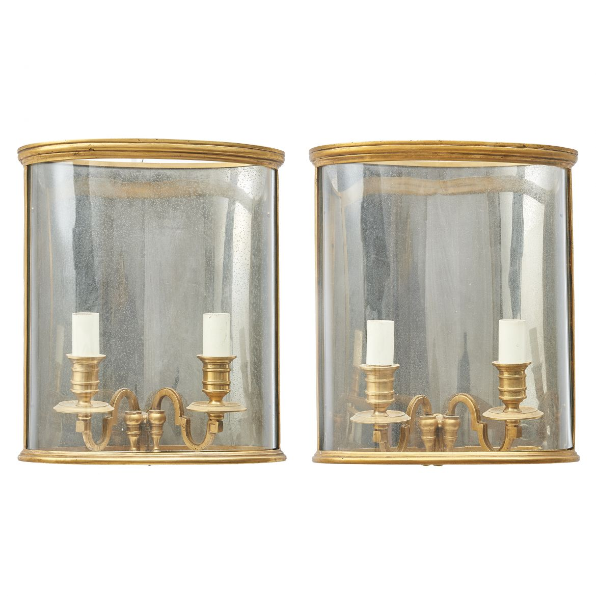 French Bronze Oval Wall Lanterns