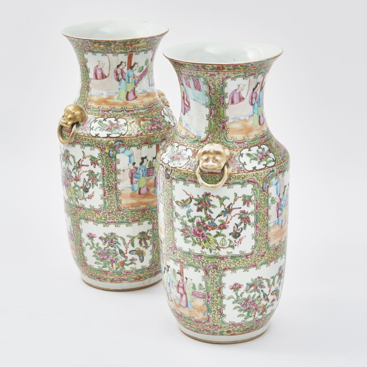 Pair Chinese Famille Rose Baluster Vases