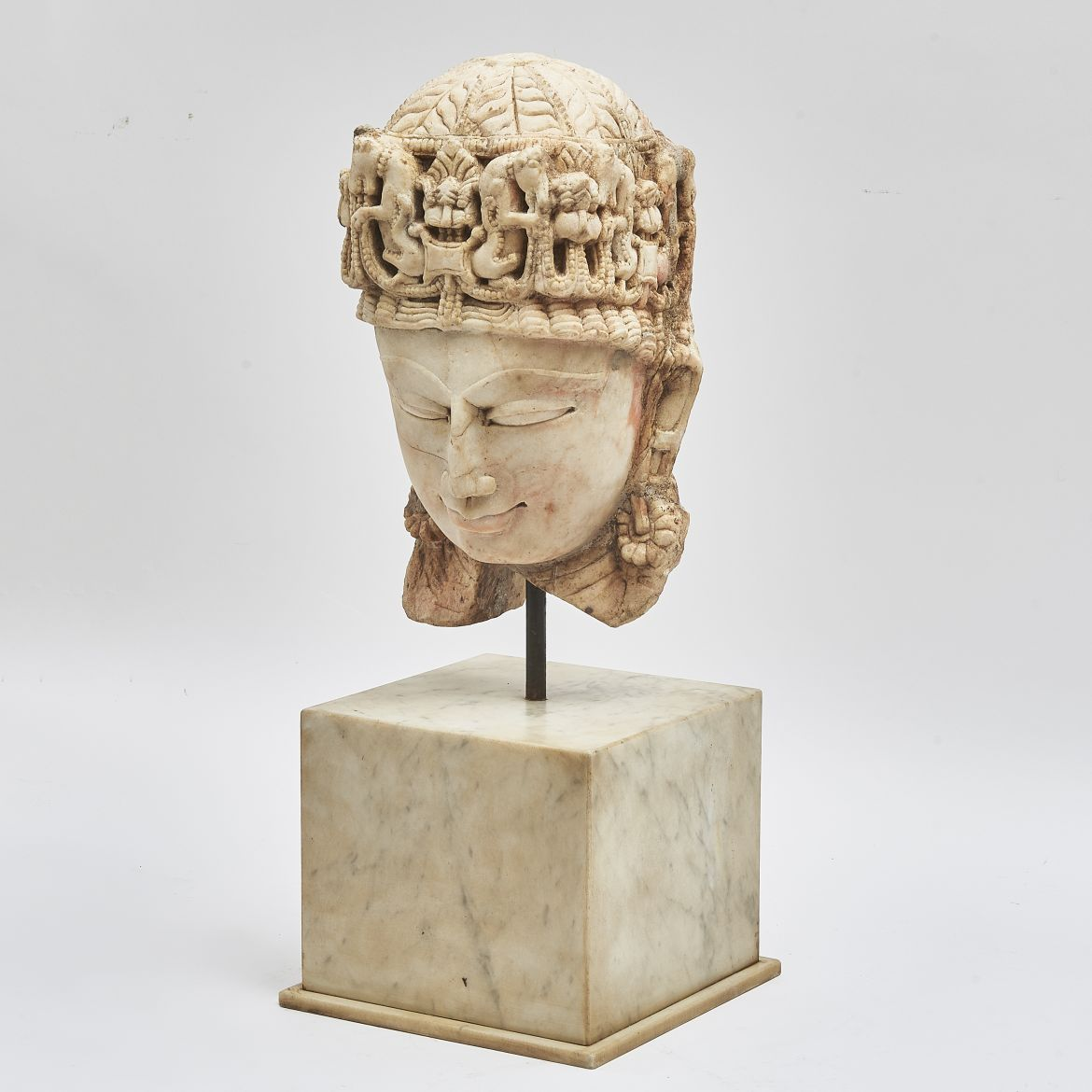 Indian Temple Fragment Of A Carved Marble Head Of Vishnu On Later Marble Base