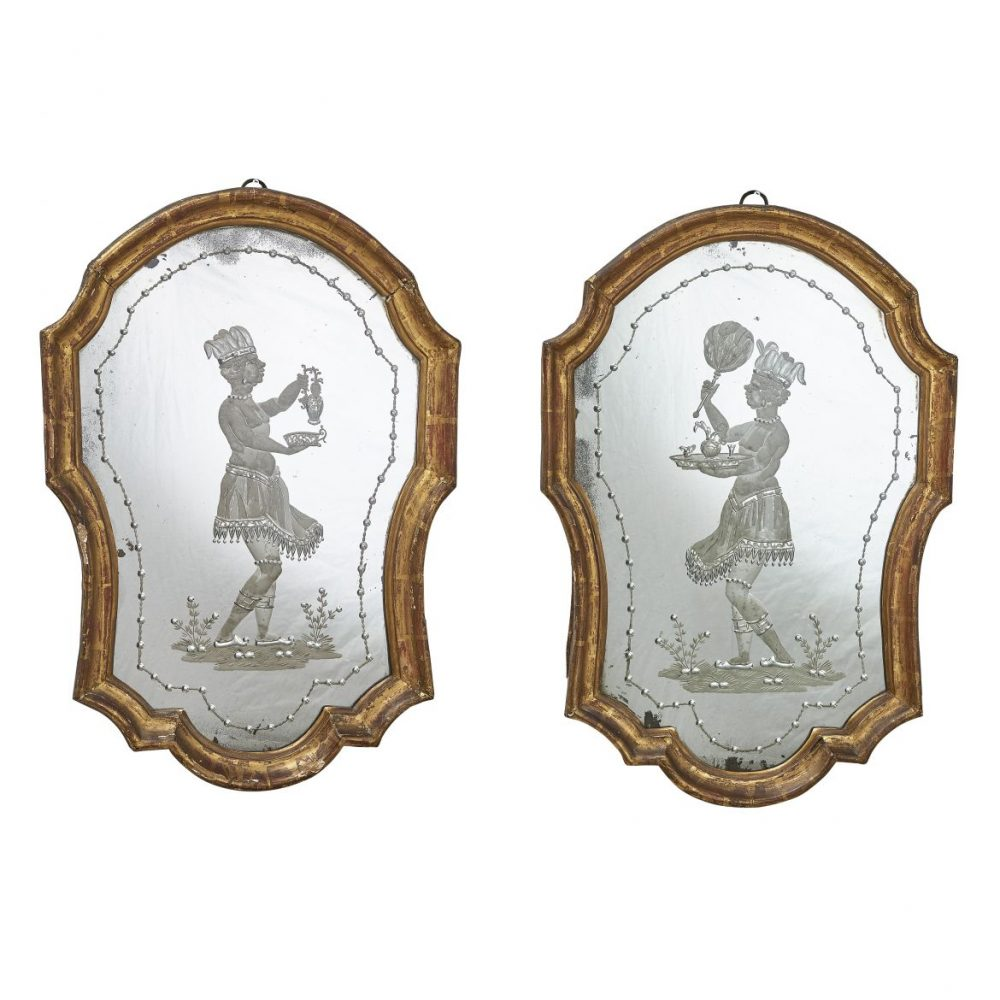 Pair Venetian Etched And Engraved Mirrors