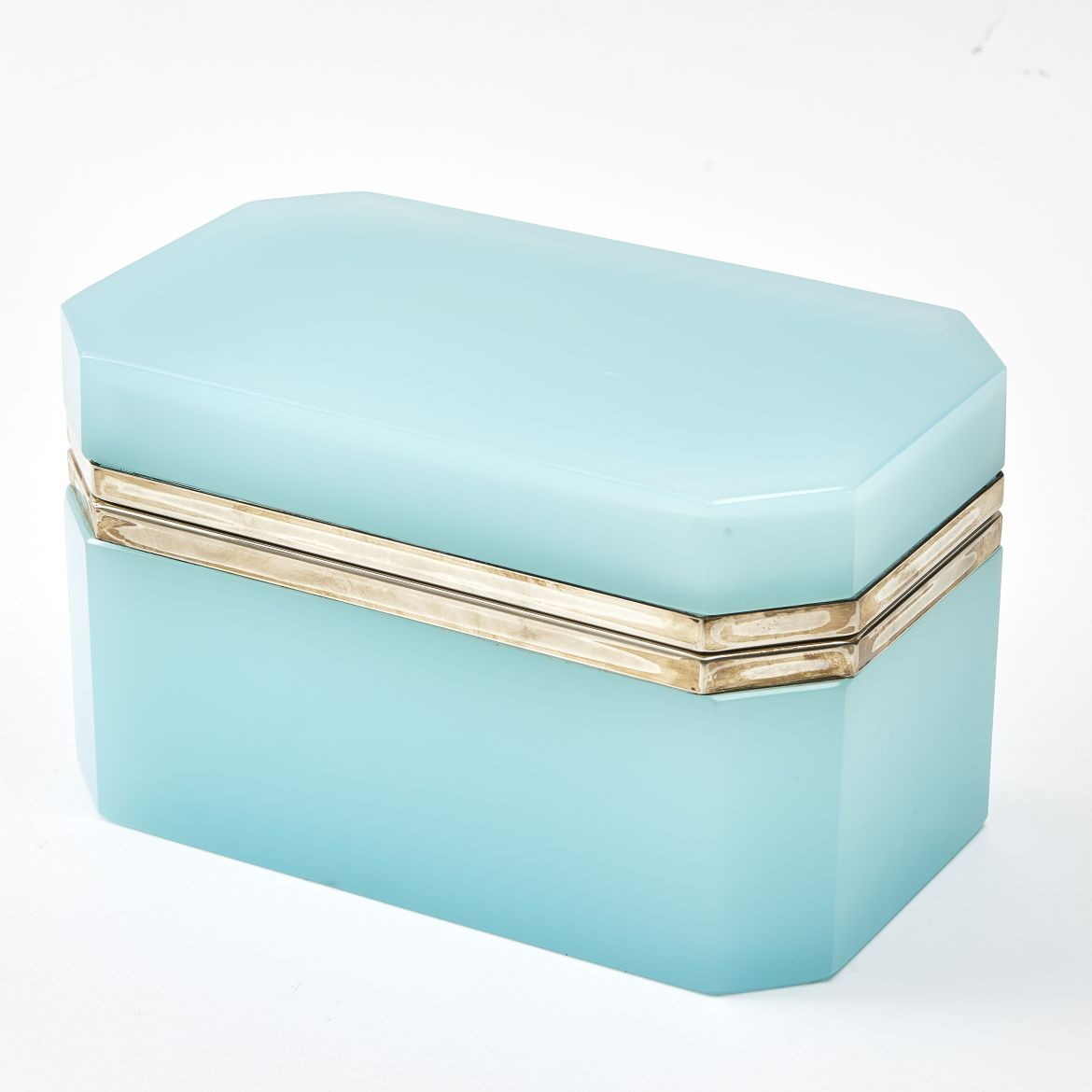 Large Murano Pale Blue Glass Box With Silvered Mounts
