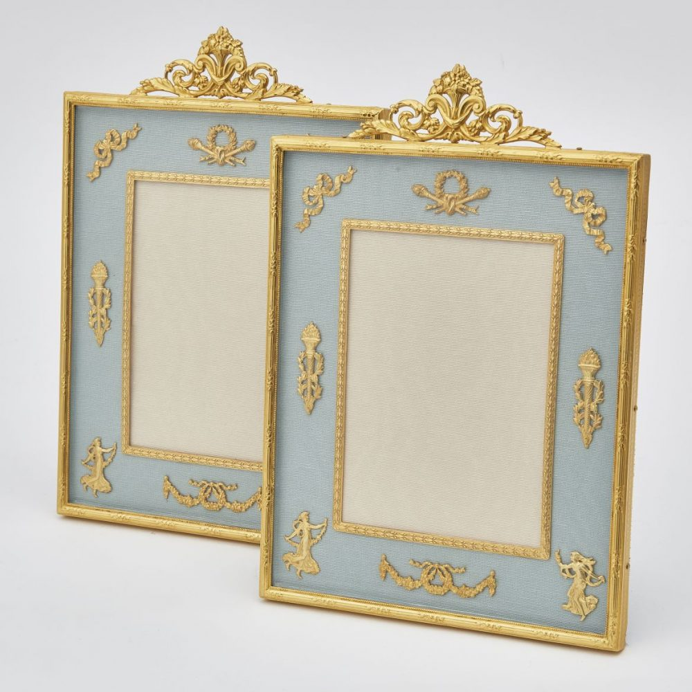 Pair Gilt Bronze Frames With Floral Crests And Classical Motifs