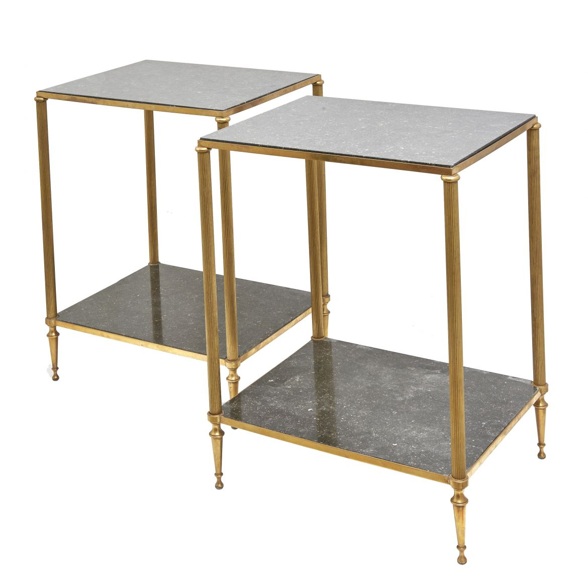 Pair French End Tables With Belgian Fossil Marble Shelves
