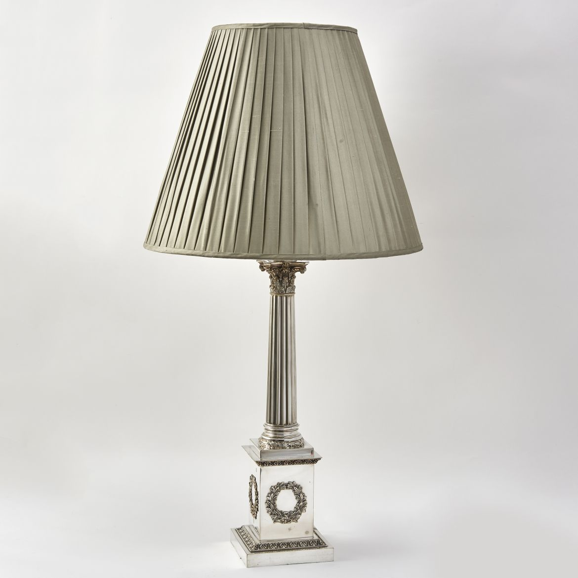 English Silver Plated Column Lamp