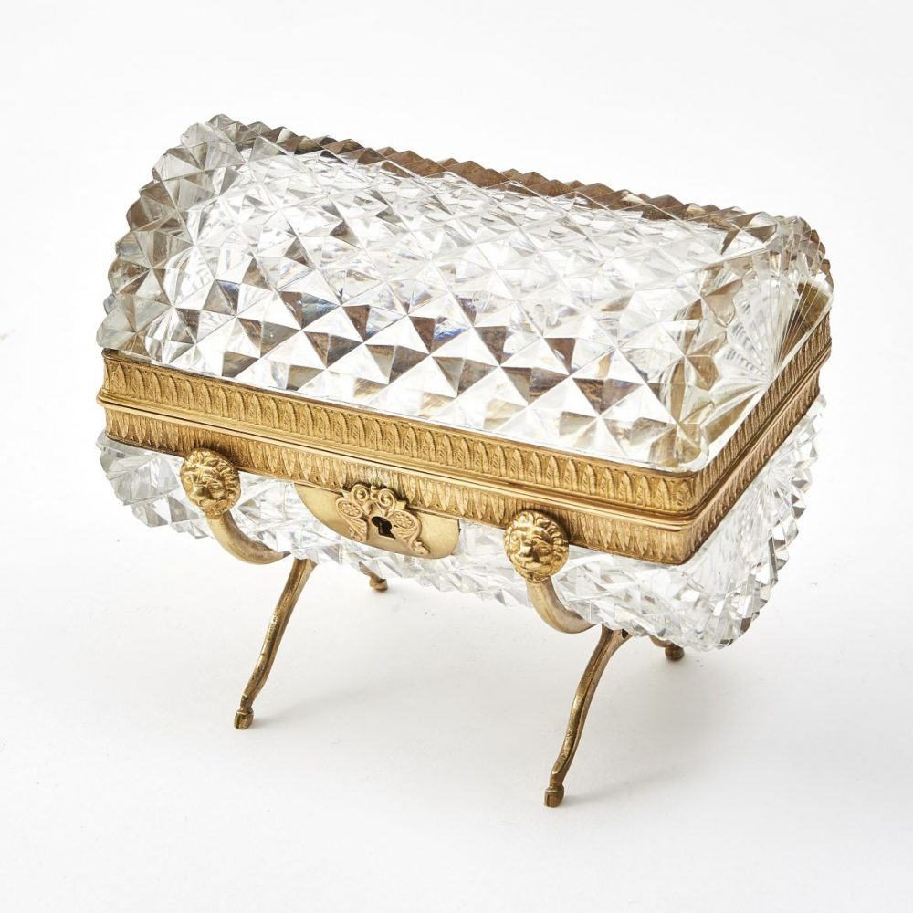 French Louis Philippe Cylindrical Cut Crystal Box
