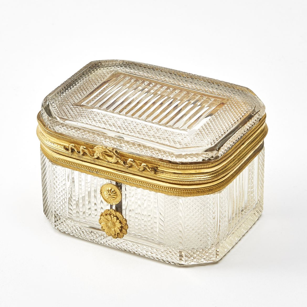 Charles X Cut Crystal Box With Ormolu Mounts And Clasp