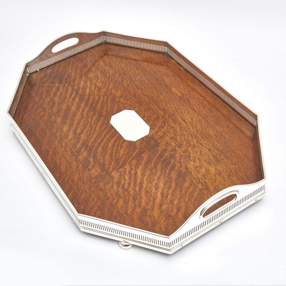 English Canted Corner Silver Plate And Oak Gallery Tray