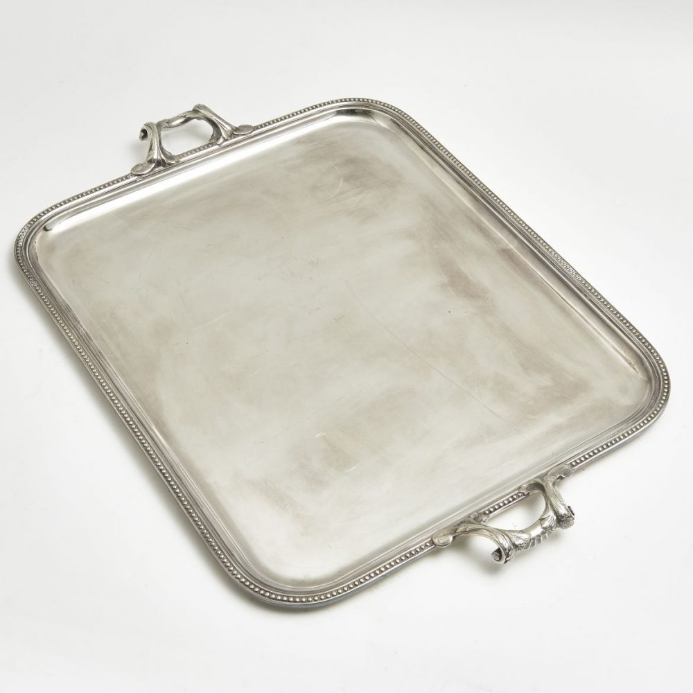 French Silver Plate Tray With Foliate Handles