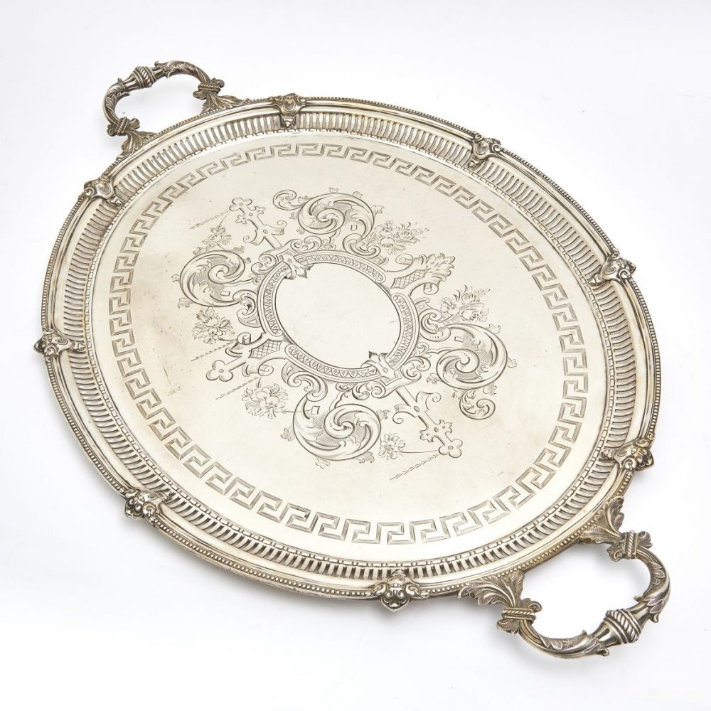 Oval Silver Plate Tray With Engraved Central Cartouche And Foliate Handles