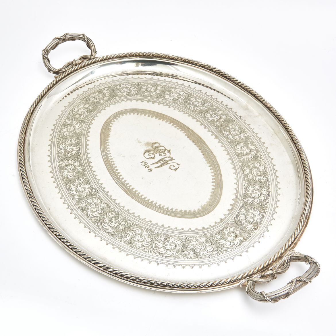 Oval Silver Plate Tray Stamped Elkington and Co