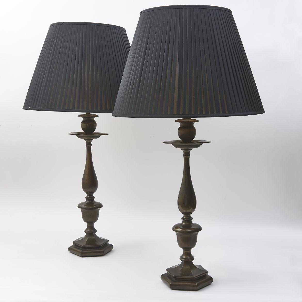 Pair Edwardian Bronze Baluster Shaped Lamps By Faraday And Son