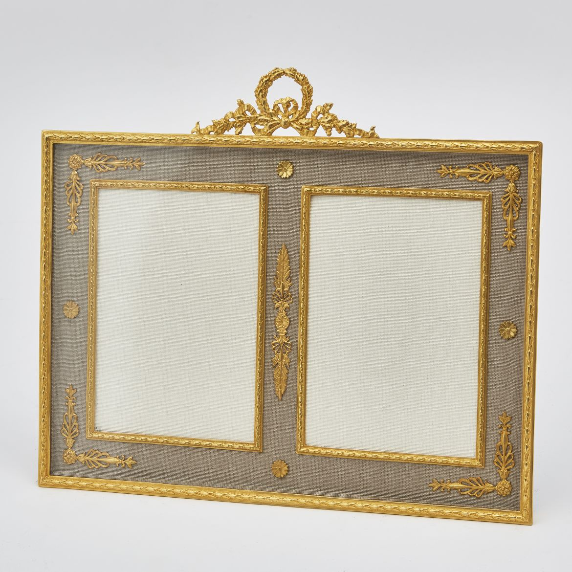 Gilt Bronze Double Photo Frame With Laurel Crest