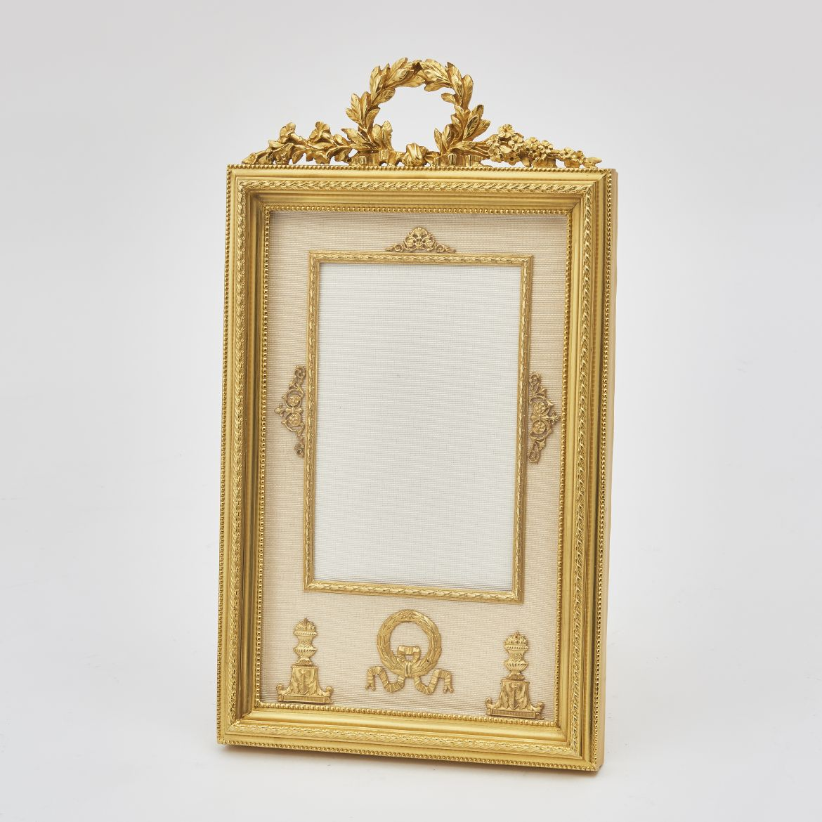 Gilt Bronze Frame With Laurel Crest And Beige Silk Slip