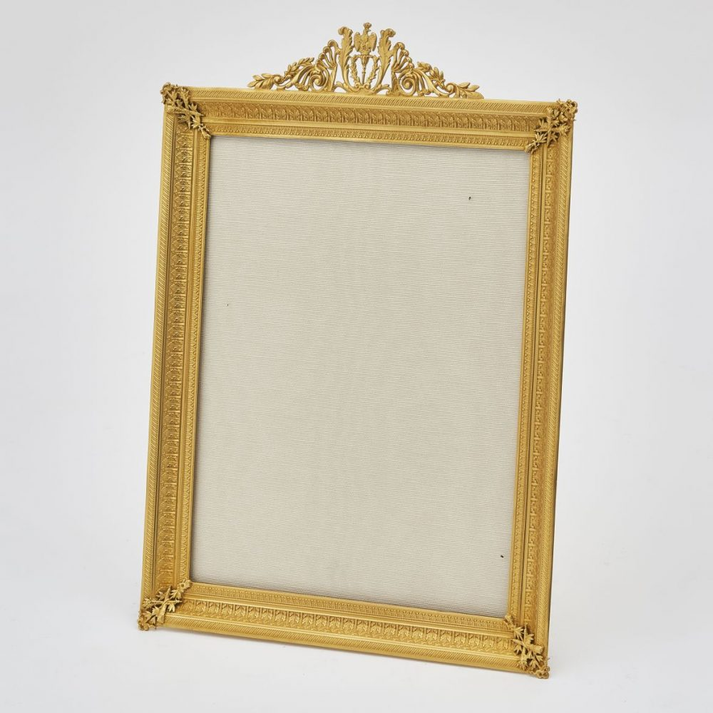 French Pressed Gilt Bronze Frame With Acanthus And Eagle Crest