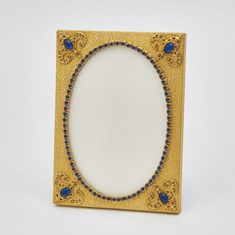 French Pressed Gilt Bronze Frame With Blue Paste Stones