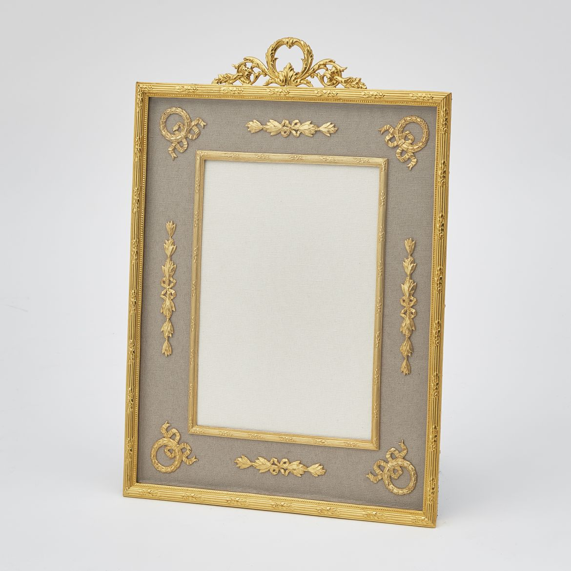 Gilt Bronze Frame With Foliate Crest