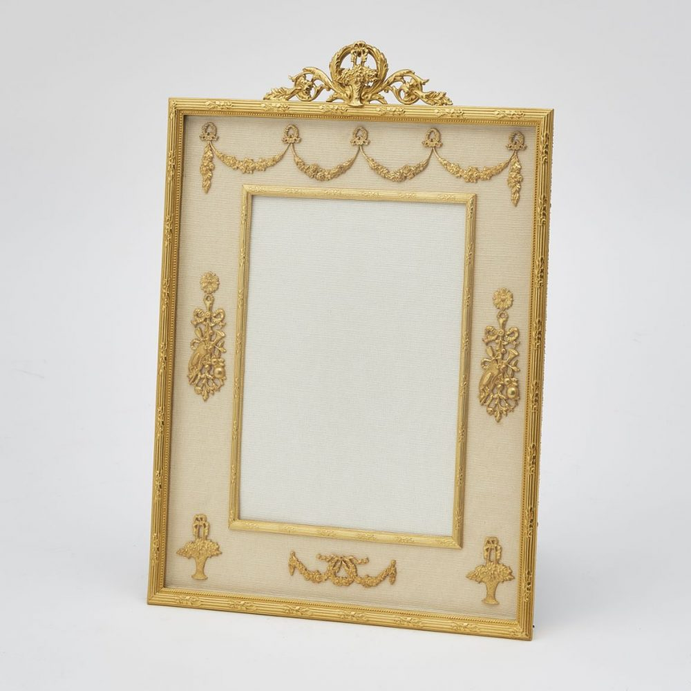 French Gilt Bronze Frame With Flower Basket Crest And Applied Swags