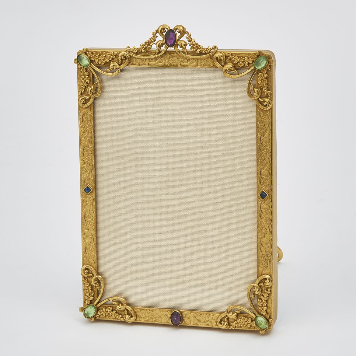 Art Nouveau Cast Gilt Bronze Frame With Paste Stones