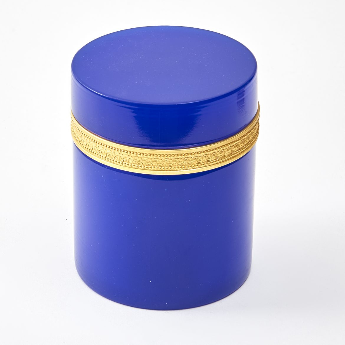 Murano Cylindrical Blue Glass Box
