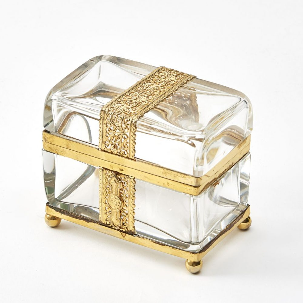 Bohemian Clear Glass Box With Filigree Strap