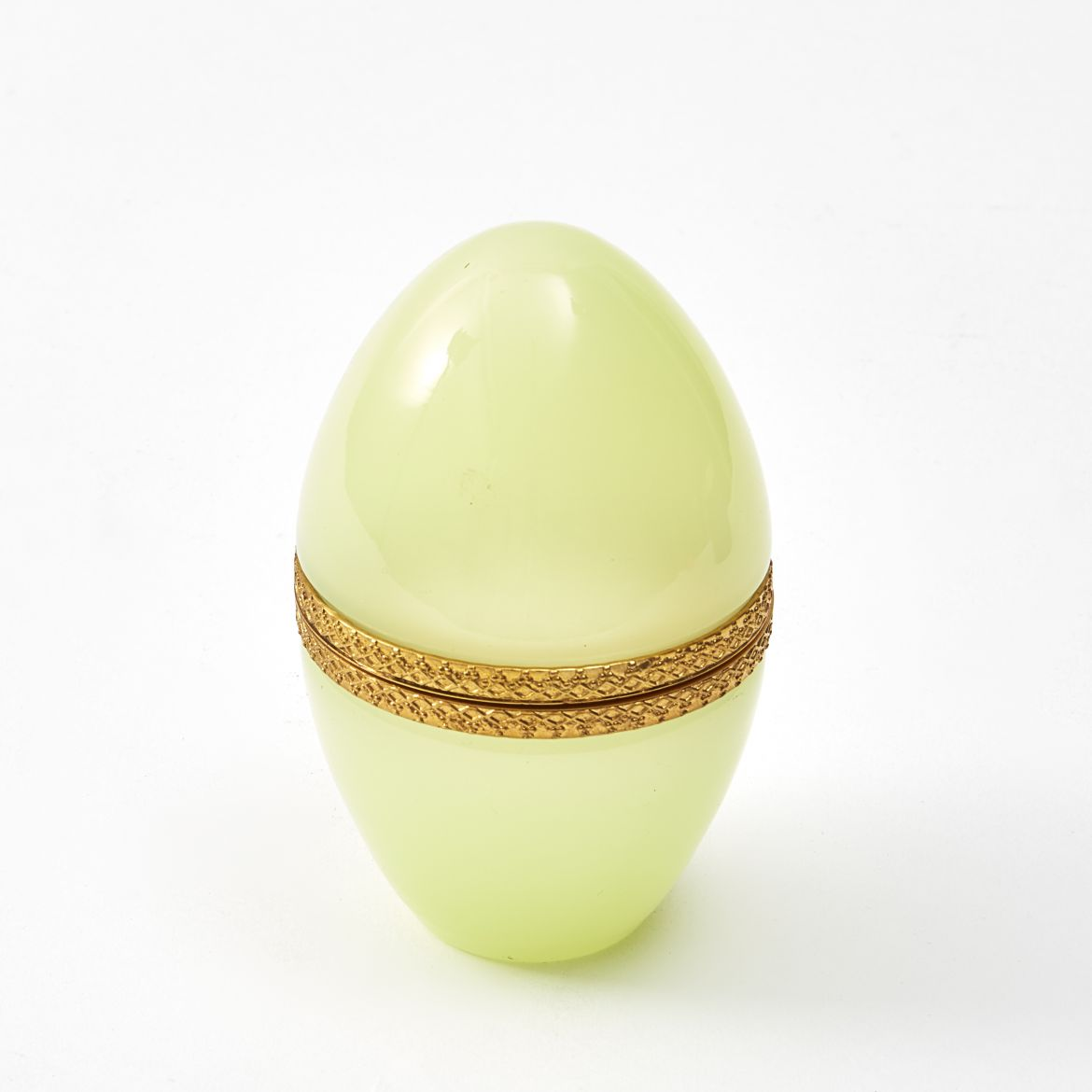 Murano Opaque Yellow Glass Egg Shaped Box