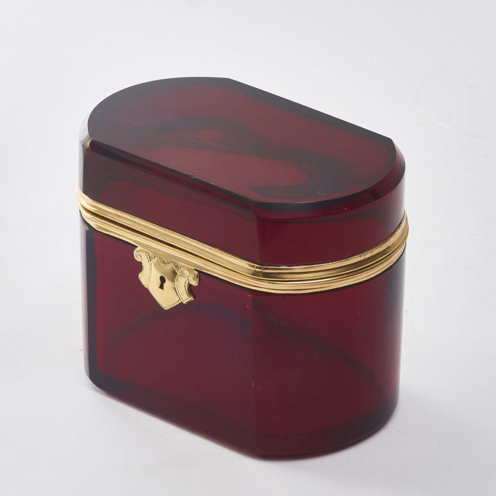 Bohemian Red Glass Box With Bronze Mounts