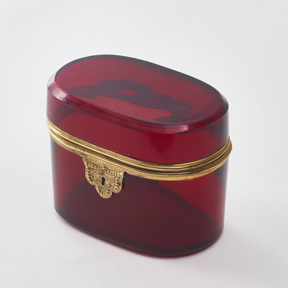 Oval Red Glass Box With Gilt Bronze Mounts