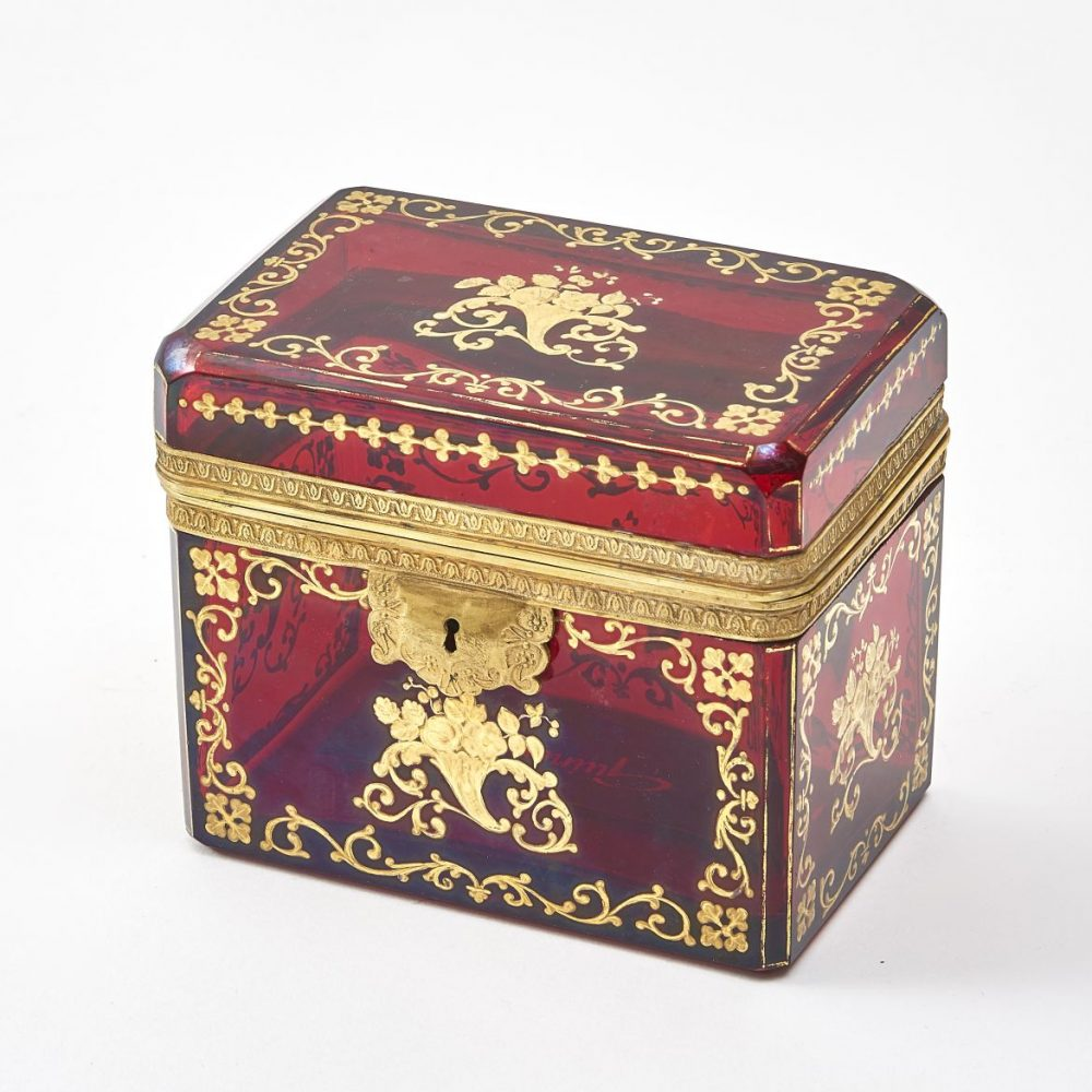 Bohemian Red Glass Box Decorated With Gilt Overlay