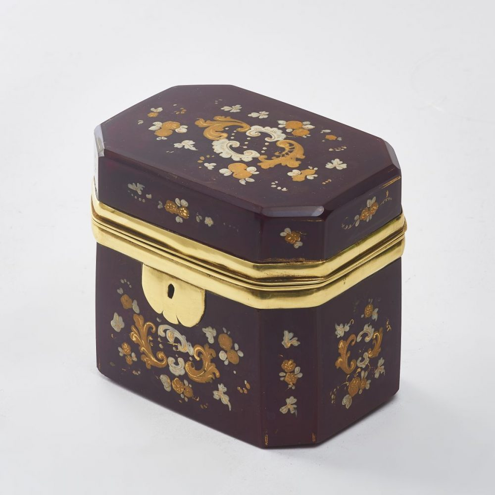 Bohemian Red Glass Box With Enamel Decoration