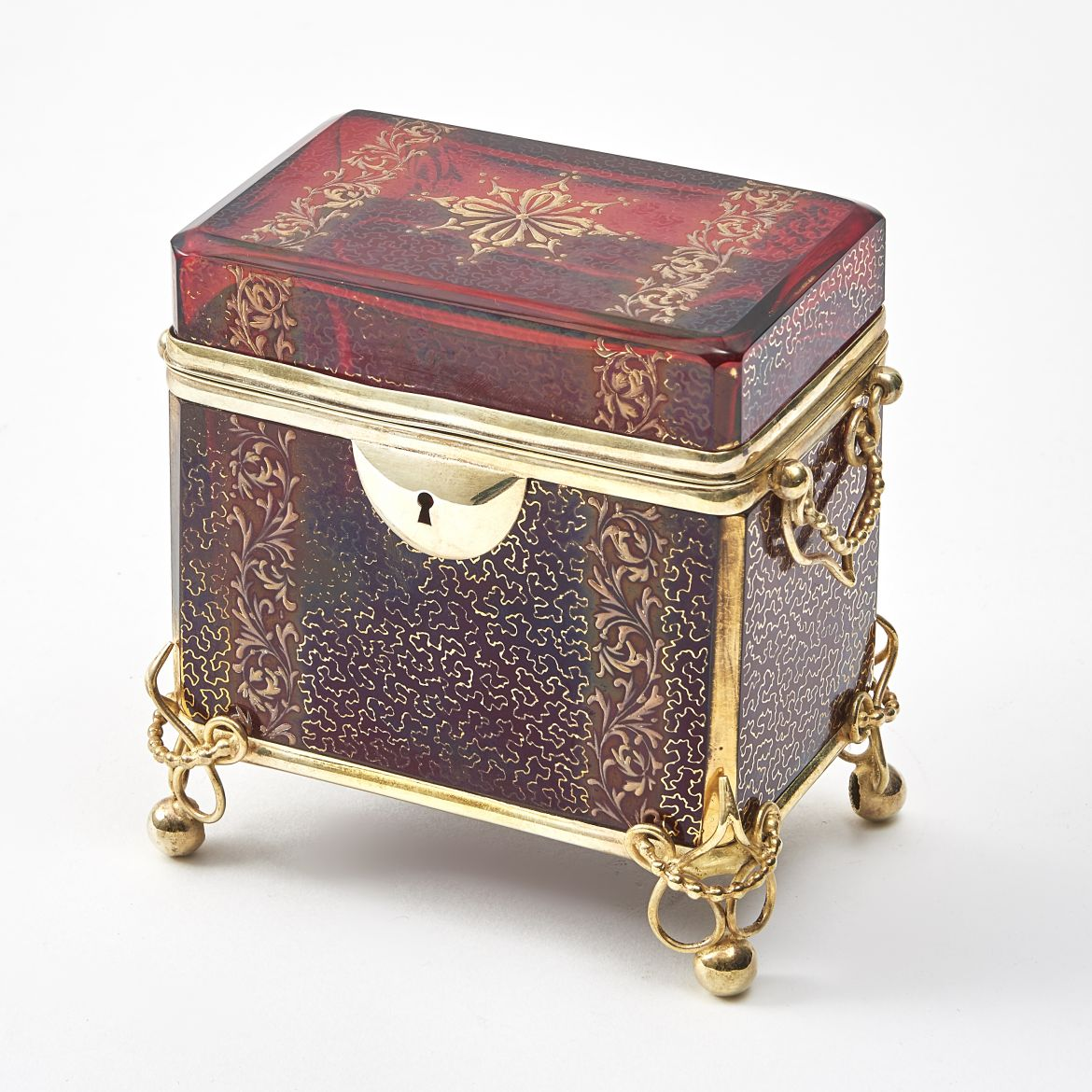 Bohemian Red Glass Box With Arabesque Gilt And Enamel Overlay
