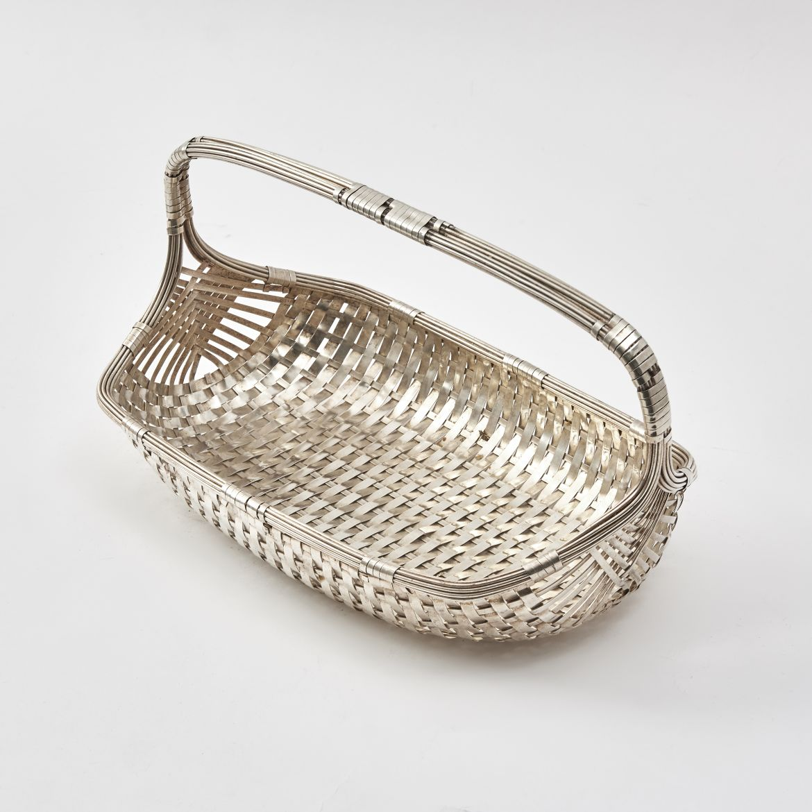 French Silver Plate Woven Bread Basket