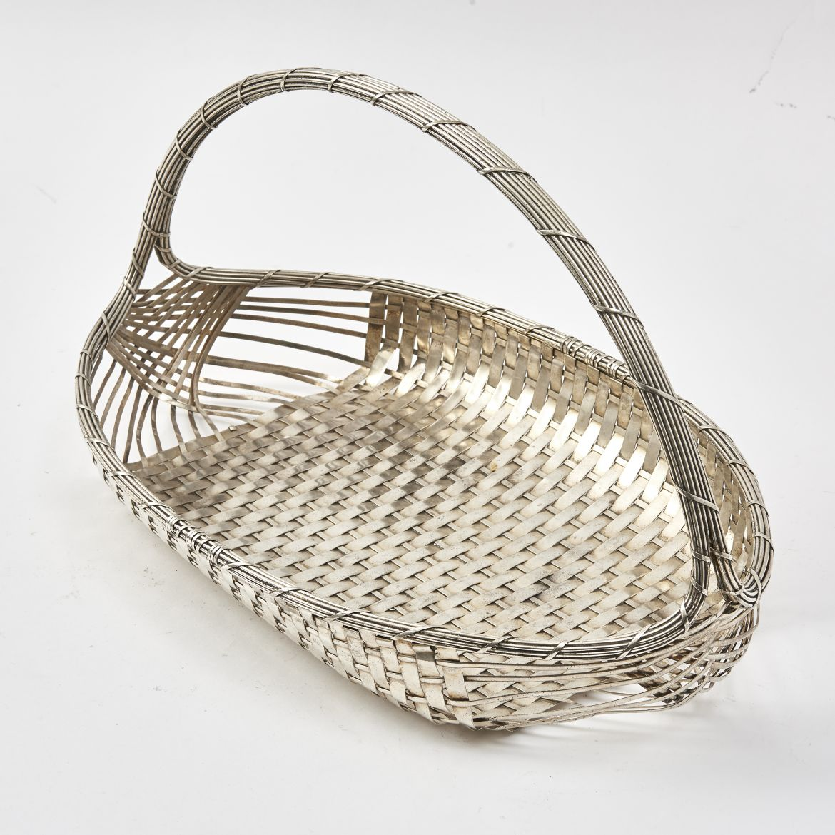 French Silver Plate Oval Bread Basket