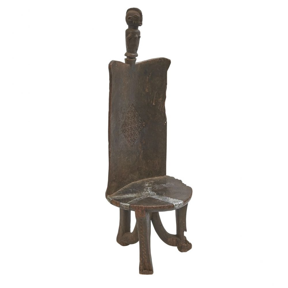 Carved Wood African Tribal Chair