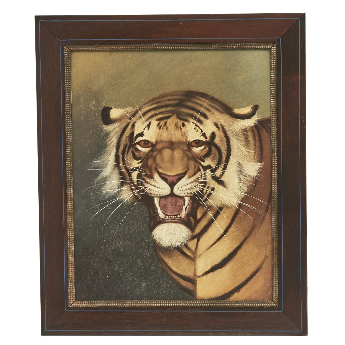 Oil painting Of Tiger's Head Signed L Hameau