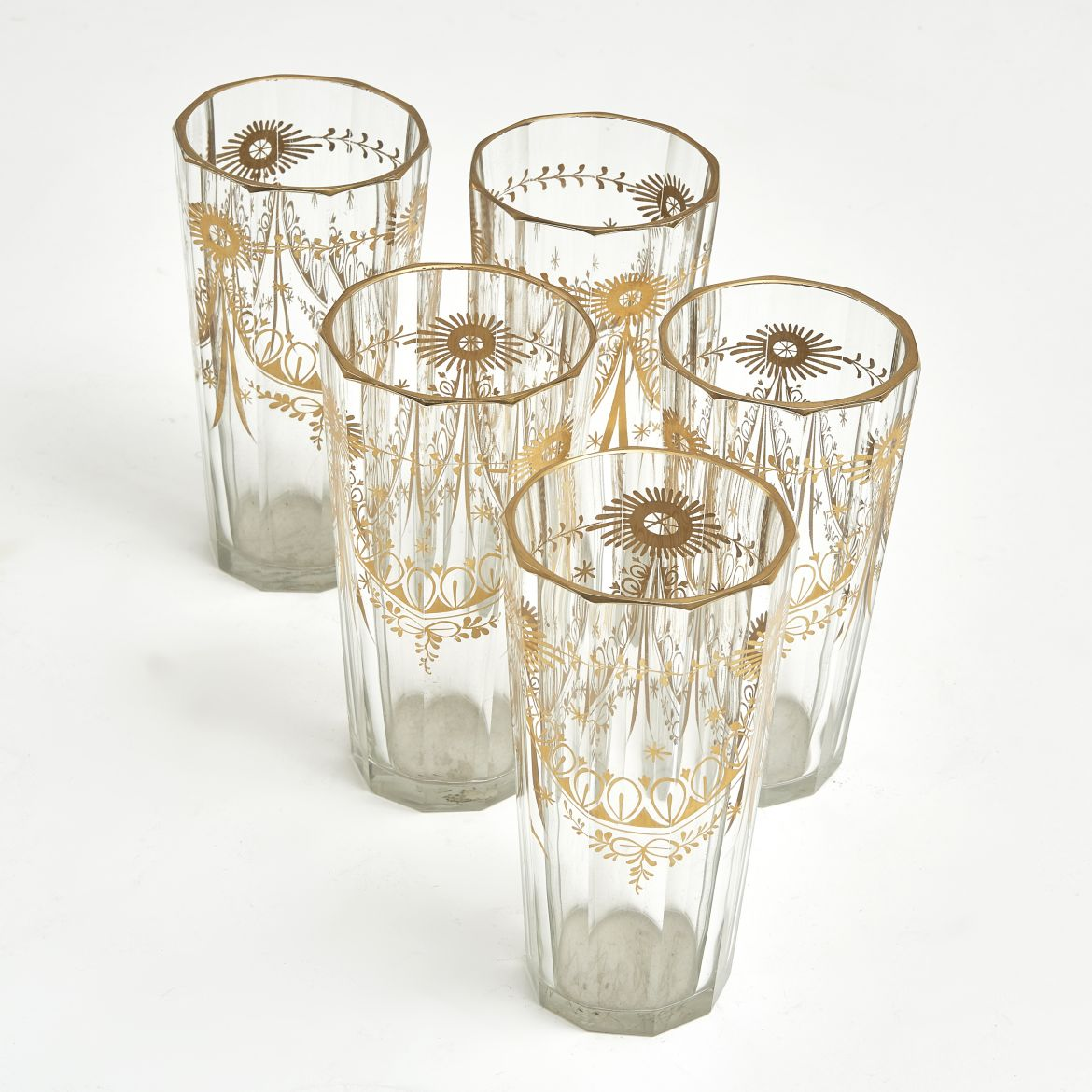 Set Bohemian Cut Glass Tumblers With Gilt Overlay
