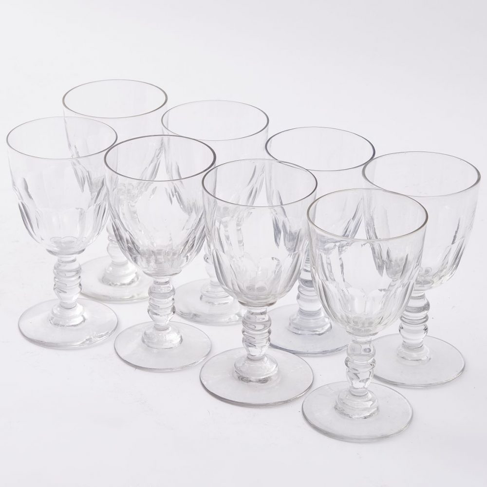 Set Eight C19th French Wine Glasses