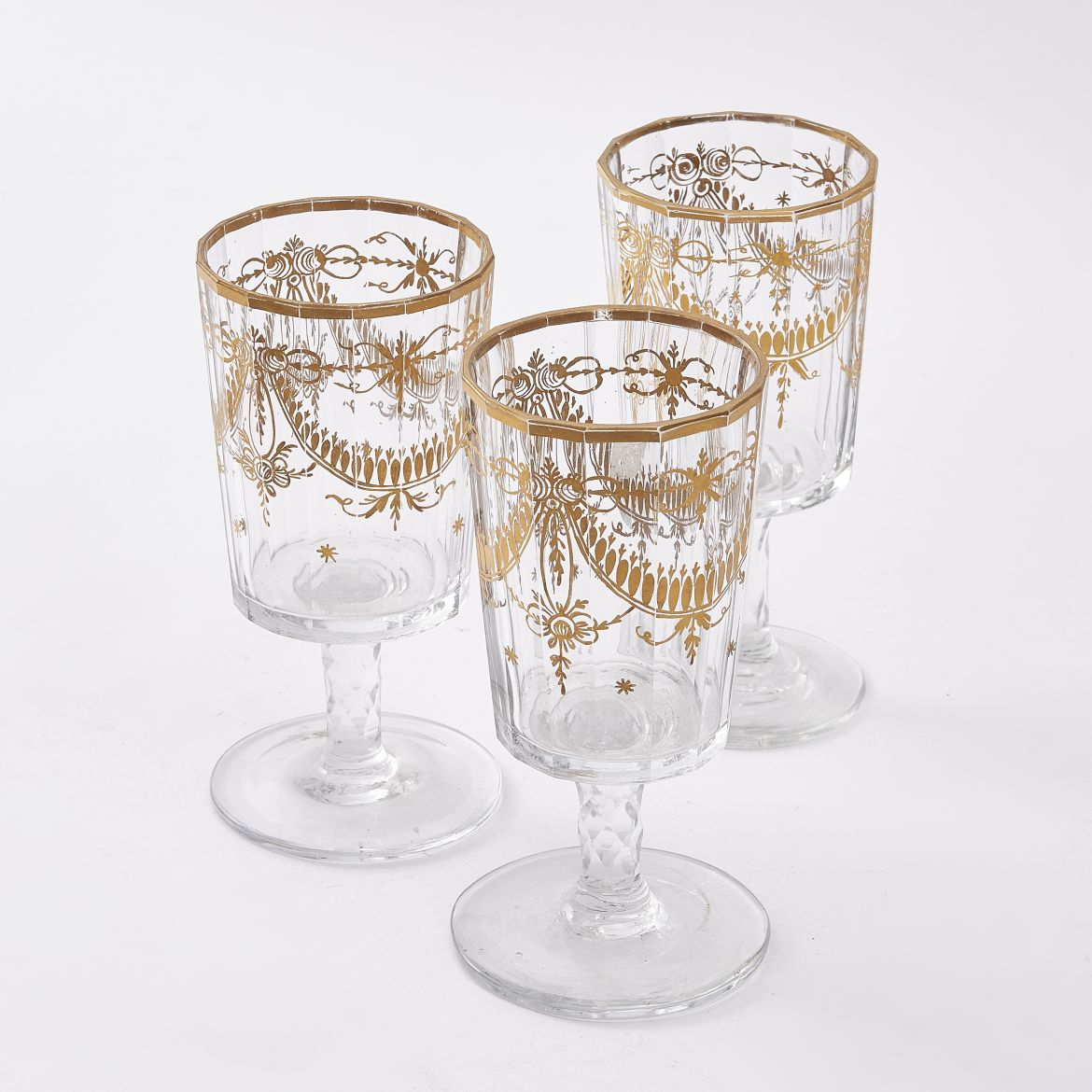 Set Three Bohemian Cut Crystal Wine Glasses With Gilt Decoration