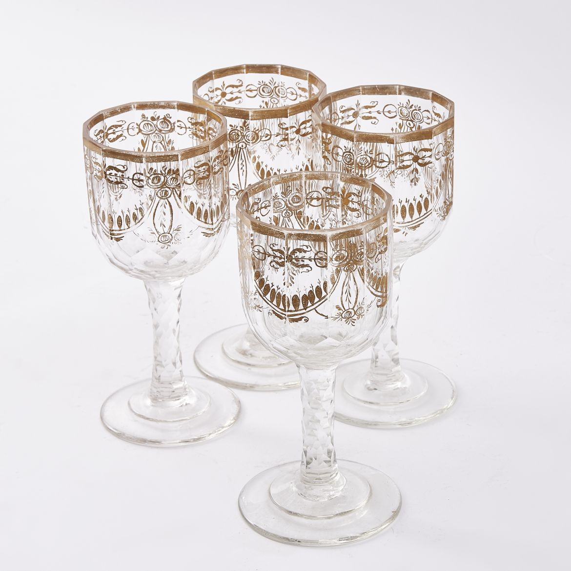 Set Four Bohemian Cut Crystal Wine Glasses With Gilt Decoration
