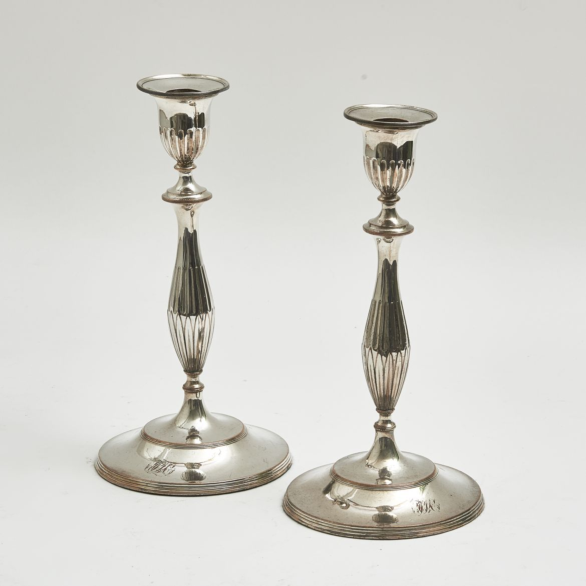 Georgian Style Silver Plate Candlesticks
