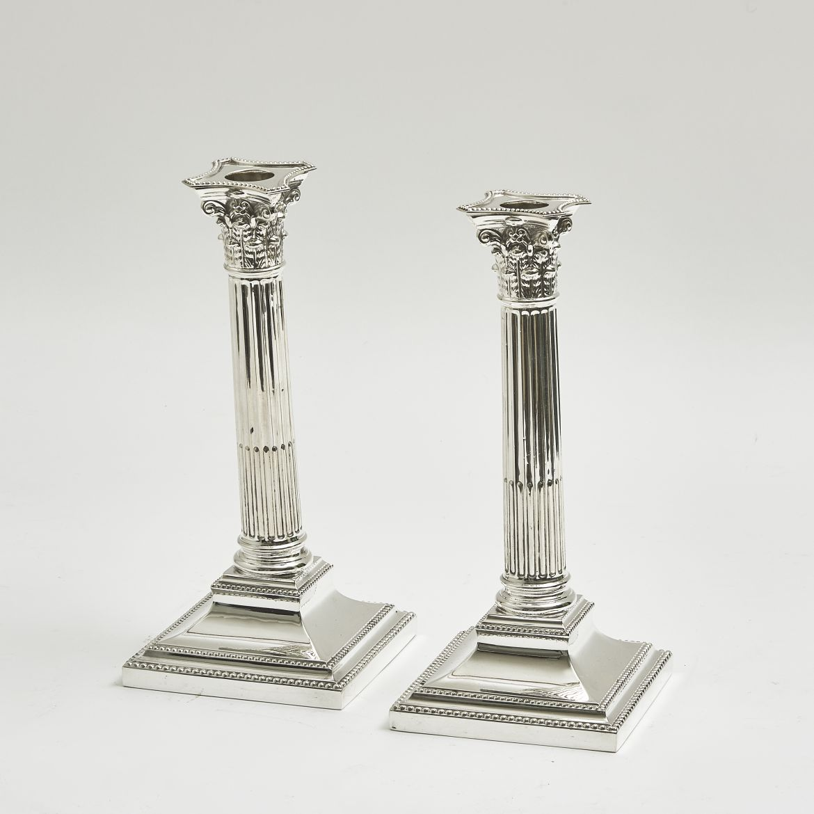 Pair Silver Plate Corinthian Column Candlesticks Stamped Walker And Hall
