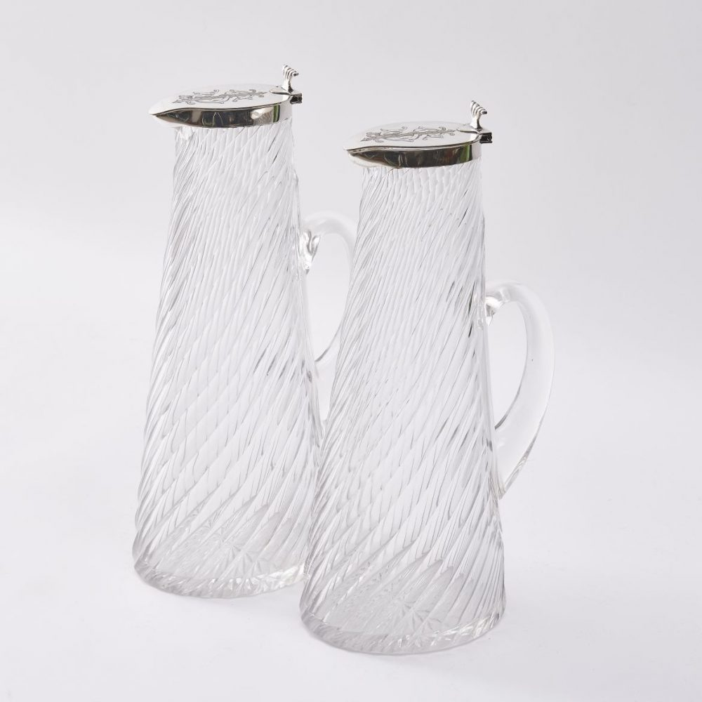 Pair Hukin And Heath English Spiral Cut Glass Jugs