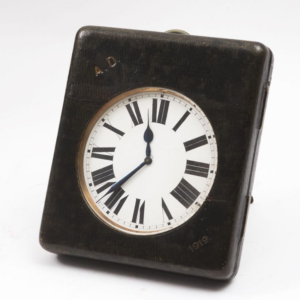 large Goliath Clock In A Leather Case