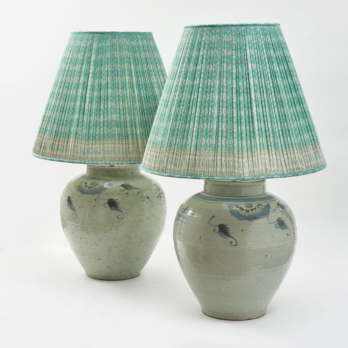 Pair Chinese Blue And White Baluster Jars Wired As Lamps
