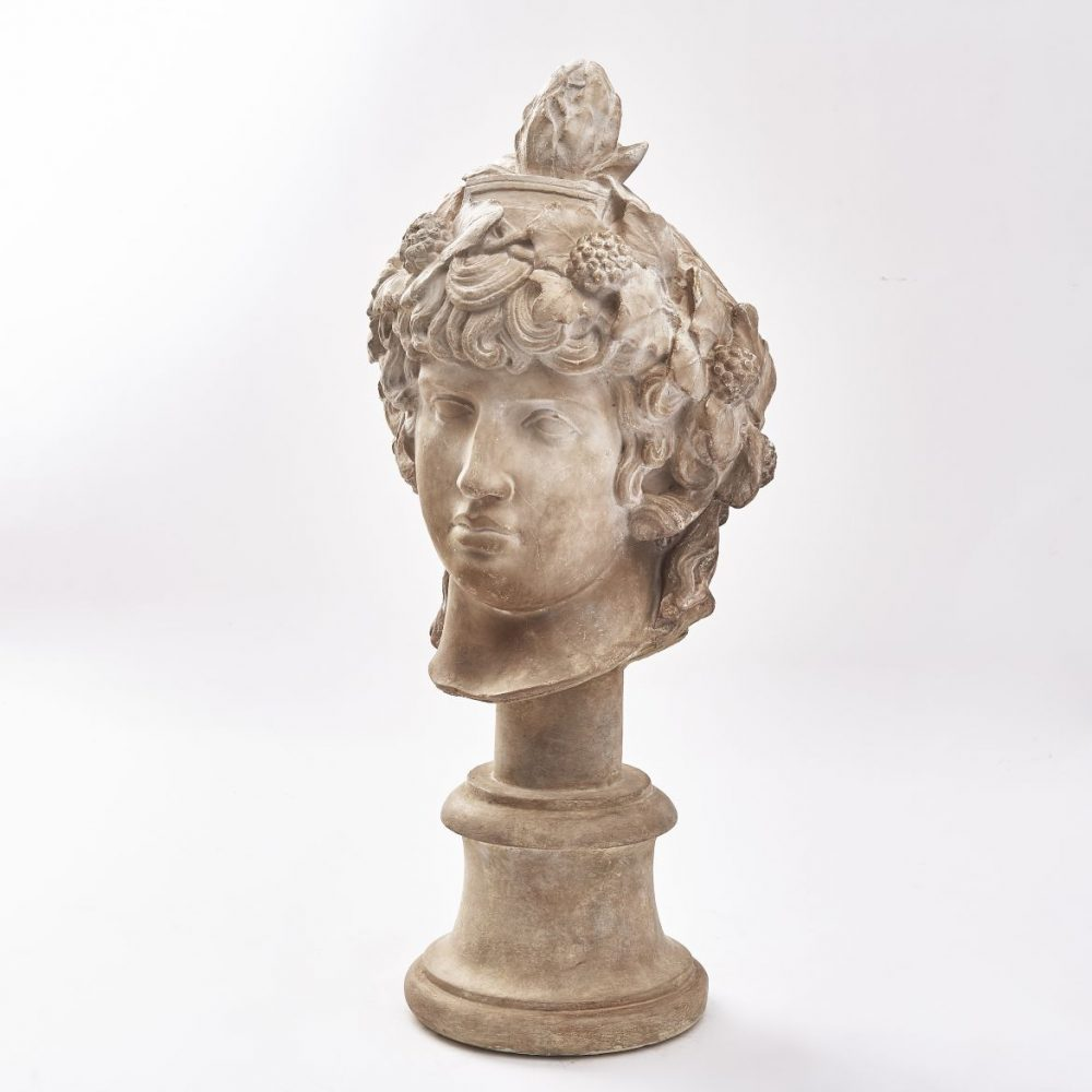 Plaster Head Of Antinous As Dionysus After The Vatican Original