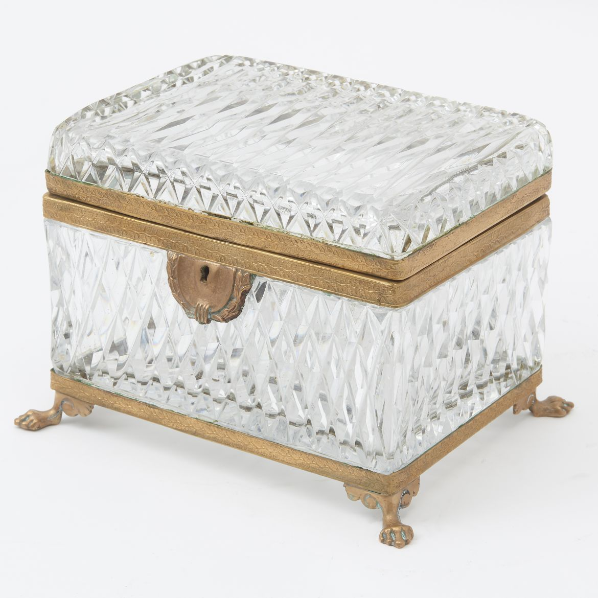 French Cut Crystal Box With Paw Feet