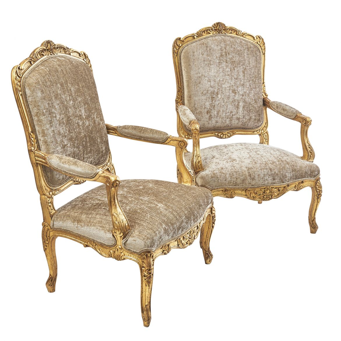 Pair French Louis XV Style A Chassis Giltwood Armchairs