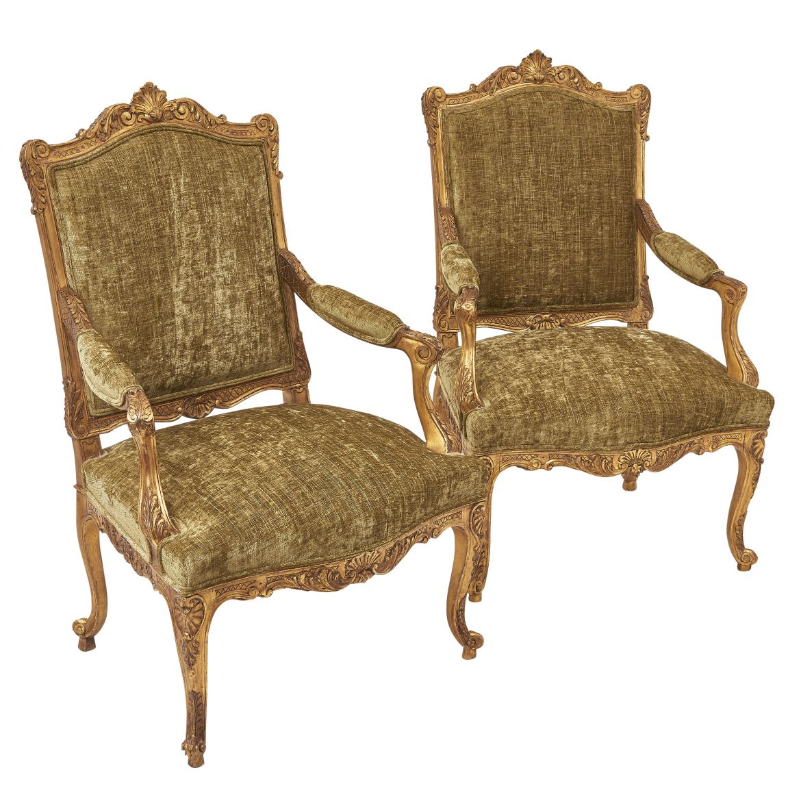Pair Victorian Carved Giltwood Louis XV Style Armchairs