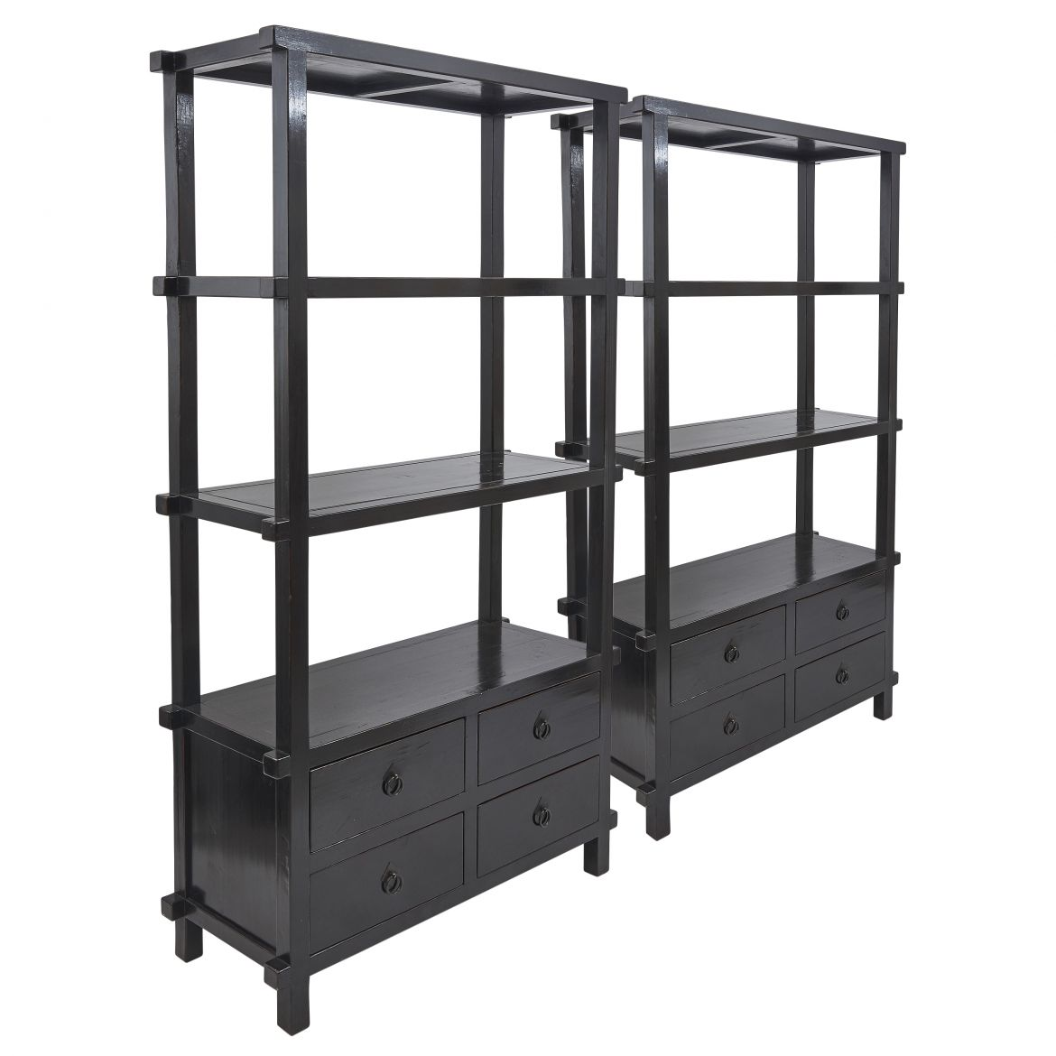 Pair Chinese Black Lacquer Open Bookshelves