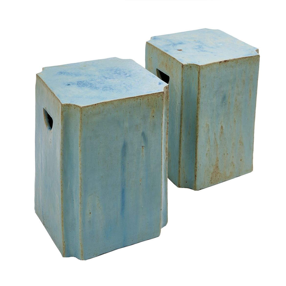 Pair Chinese Turquoise Glaze Canted Corner Stools